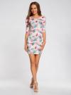 Платье трикотажное облегающее oodji #SECTION_NAME# (розовый), 14001121-3B/16300/4073F - вид 2