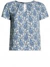 Блузка свободного силуэта с вырезом-капелькой oodji #SECTION_NAME# (синий), 11411157/46633/3075E
