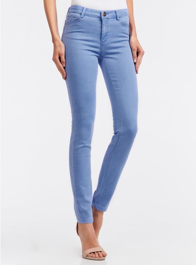 Джинсы базовые slim-fit oodji для женщины (синий), 12104059/45596/7000W