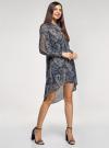Платье шифоновое с асимметричным низом oodji для женщины (синий), 11913032/38375/7933E - вид 6