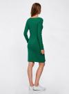 Платье трикотажное облегающего силуэта oodji #SECTION_NAME# (зеленый), 14001183B/46148/6D00N - вид 3
