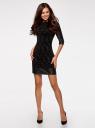 Платье с флоком и отделкой из искусственной кожи oodji для женщины (черный), 14001143-3/42376/2929O