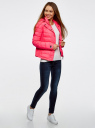 Куртка стеганая с капюшоном oodji #SECTION_NAME# (розовый), 10204053/47173/4D00N - вид 6