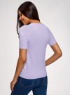 Джемпер с короткими рукавами и кружевной вставкой oodji #SECTION_NAME# (фиолетовый), 63814004/46406/806CF - вид 3