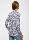 Блузка принтованная из вискозы oodji #SECTION_NAME# (синий), 11411098-1/24681/1275E - вид 3