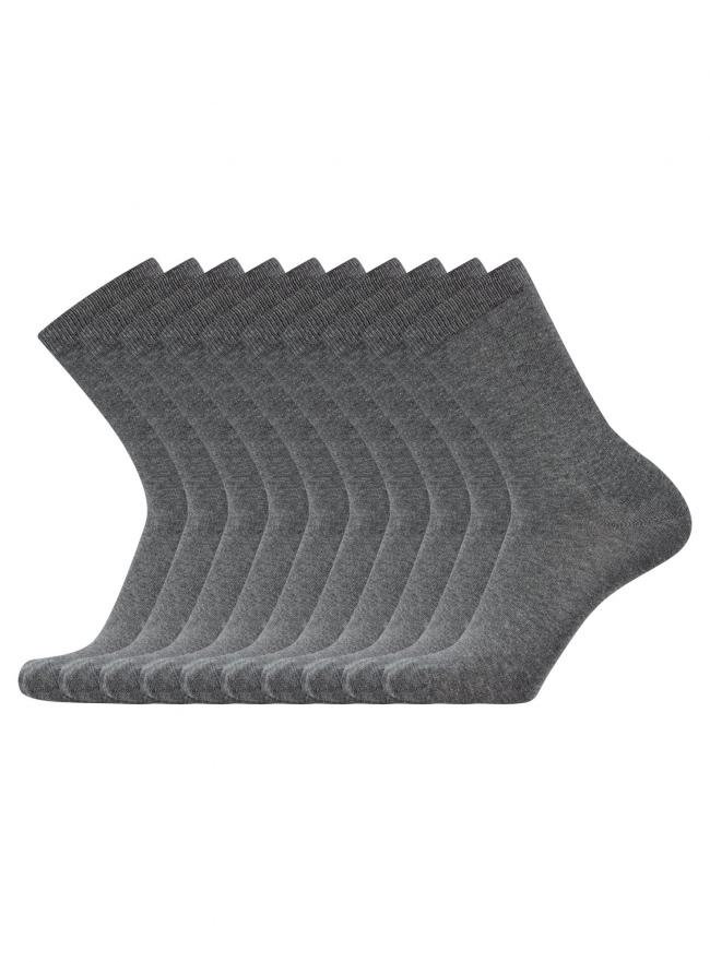 Комплект из десяти пар хлопковых носков oodji для мужчины (серый), 7O203000T10/47469/1902M