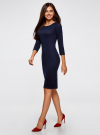 Платье трикотажное с вырезом-капелькой на спине oodji #SECTION_NAME# (синий), 24001070-5/15640/7900N - вид 6
