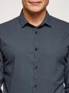 Рубашка slim с мелким геометрическим узором oodji #SECTION_NAME# (черный), 3L110216M/19370N/2975G - вид 4