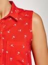 Топ вискозный с нагрудным карманом oodji #SECTION_NAME# (красный), 11411108B/26346/4510Q - вид 5