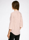 Блузка вискозная с регулировкой длины рукава oodji #SECTION_NAME# (розовый), 11403225-3B/26346/5429G - вид 3