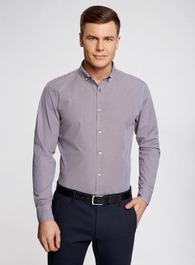 Рубашка приталенного силуэта в мелкую клетку oodji #SECTION_NAME# (фиолетовый), 3B110006M/25416N/1049C
