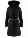 Пальто утепленное с ремнем oodji #SECTION_NAME# (черный), 20204055/45934/2900N