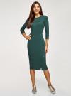 Платье приталенное с надписью oodji #SECTION_NAME# (зеленый), 14011059/48037/6929P - вид 2