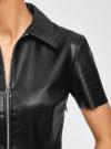 Платье из искусственной кожи с короткими рукавами с молнией на груди oodji #SECTION_NAME# (черный), 18L02002/45902/2900N - вид 5