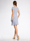 Платье трикотажное с воланами oodji #SECTION_NAME# (синий), 14011017/46384/7010F - вид 3