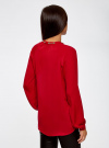 Блузка из струящейся ткани с металлическим украшением oodji #SECTION_NAME# (красный), 21414004/45906/4500N - вид 3