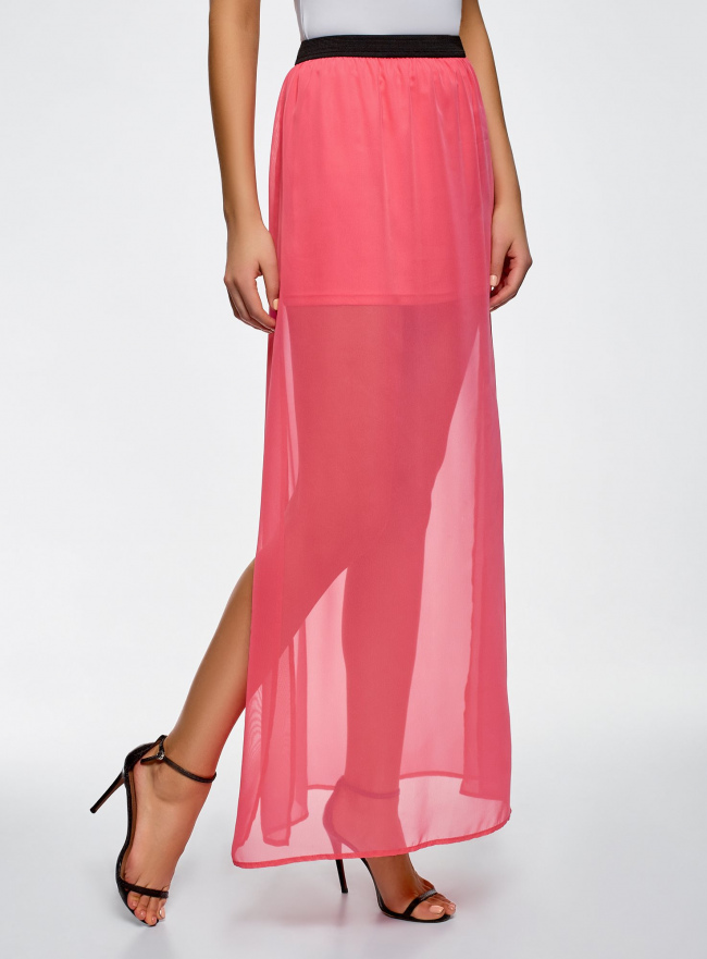 Юбка макси из струящейся ткани oodji #SECTION_NAME# (розовый), 13G00002-4B/42816/4D00N