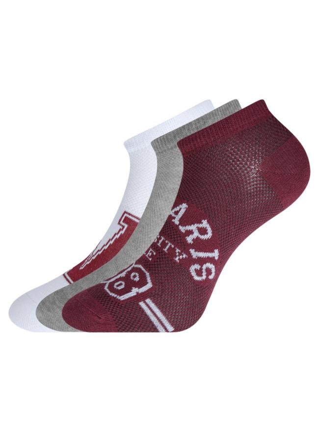 Комплект укороченных носков (3 пары) oodji для женщины (разноцветный), 57102604T3/48022/13
