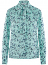 Блузка вискозная с декоративными завязками oodji #SECTION_NAME# (зеленый), 11411118/24681/6579F
