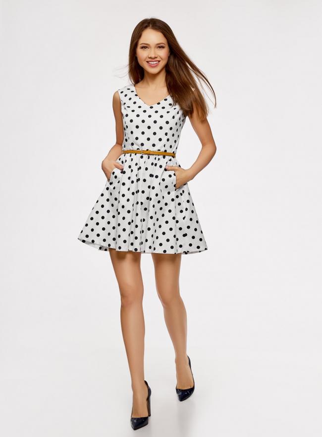 Платье принтованное с ремнем oodji для женщины (белый), 11913021/19766/1279D