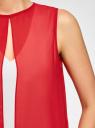 Блузка двуцветная многослойная oodji #SECTION_NAME# (красный), 14901418/26546/124DB - вид 5
