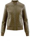 Куртка стеганая из искусственной кожи oodji #SECTION_NAME# (зеленый), 28A03001/45639/6800N