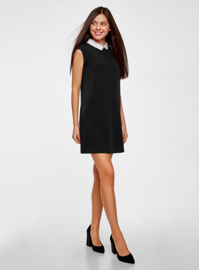 Платье без рукавов с воротничком oodji #SECTION_NAME# (черный), 11911006/42354/2900N