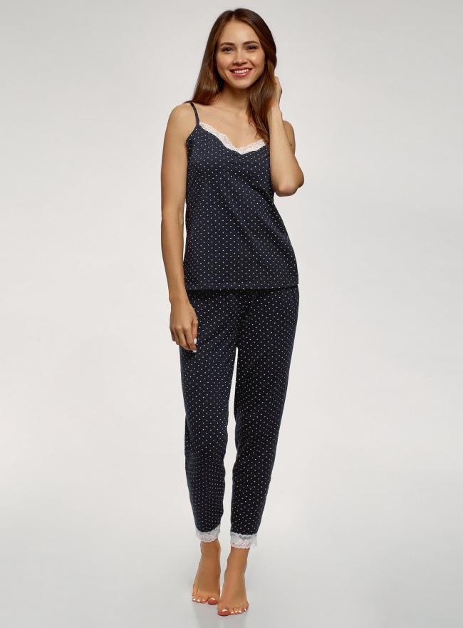 Пижама хлопковая с отделкой кружевом oodji для женщины (синий), 56002240/46147/7912Q