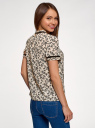 Блузка из струящейся ткани с контрастной отделкой oodji #SECTION_NAME# (бежевый), 11401272-1/36215/3029F - вид 3