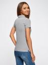 Поло базовое из ткани пике oodji для женщины (серый), 19301001-1B/46161/2000M