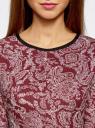 Платье трикотажное со складками на юбке oodji #SECTION_NAME# (красный), 14001148-1/33735/4912E - вид 4