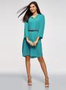 Платье вискозное с ремнем oodji #SECTION_NAME# (зеленый), 11900180B/42540/6C00N - вид 2