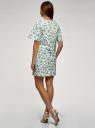 Платье из хлопка прямого силуэта oodji для женщины (зеленый), 11901159/21071N/6541F