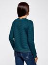Свитшот из фактурной ткани с молнией на спине oodji #SECTION_NAME# (зеленый), 14801046/45949/6C00N - вид 3