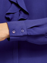 Блузка из струящейся ткани с воланами oodji #SECTION_NAME# (синий), 21411090/36215/7500N - вид 5