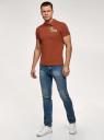 Поло хлопковое с вышивкой oodji для мужчины (красный), 5L422001I-6/44032N/3119P
