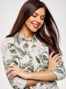 Блузка вискозная с нагрудными карманами oodji для женщины (слоновая кость), 21411115/46436/3062F