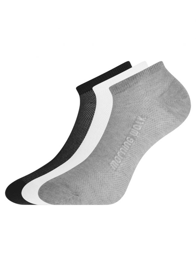 Комплект укороченных носков (3 пары) oodji для женщины (разноцветный), 57102604T3/48022/5