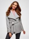 Пальто с поясом и асимметричной застежкой oodji для женщины (серый), 10104041-2/43442/2000M - вид 2