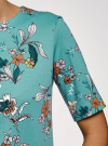 Платье прямого силуэта с коротким рукавом oodji #SECTION_NAME# (бирюзовый), 24001110-10B/48481/7319F - вид 5