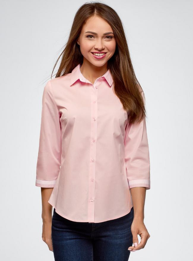 Блузка хлопковая с рукавом 3/4 oodji #SECTION_NAME# (розовый), 13K03005B/26357/4010B