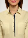 Рубашка приталенная с нагрудными карманами oodji #SECTION_NAME# (желтый), 11403222-3/42468/5000N - вид 4