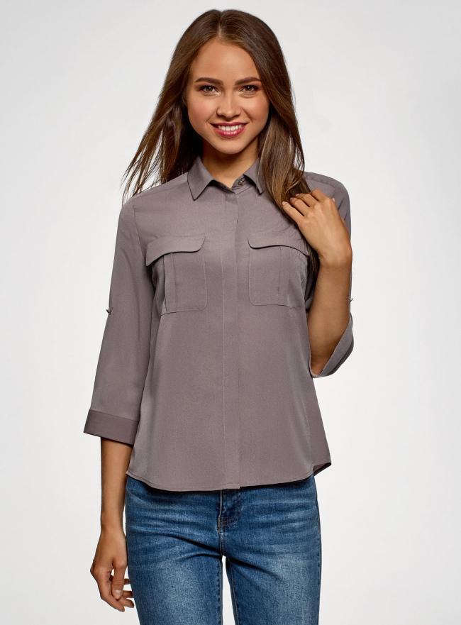 Блузка из струящейся ткани с регулировкой длины рукава oodji для женщины (коричневый), 11403225-10B/49474/3700N