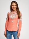 Блузка хлопковая с этническим принтом oodji #SECTION_NAME# (розовый), 21402212-2/45966/4365E - вид 2