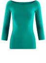 Футболка с рукавом 3/4 и открытыми плечами oodji для женщины (зеленый), 14207007/46867/6D00N