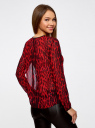 Блузка из струящейся ткани с контрастной отделкой oodji #SECTION_NAME# (красный), 11411059-2/38375/4529A - вид 3