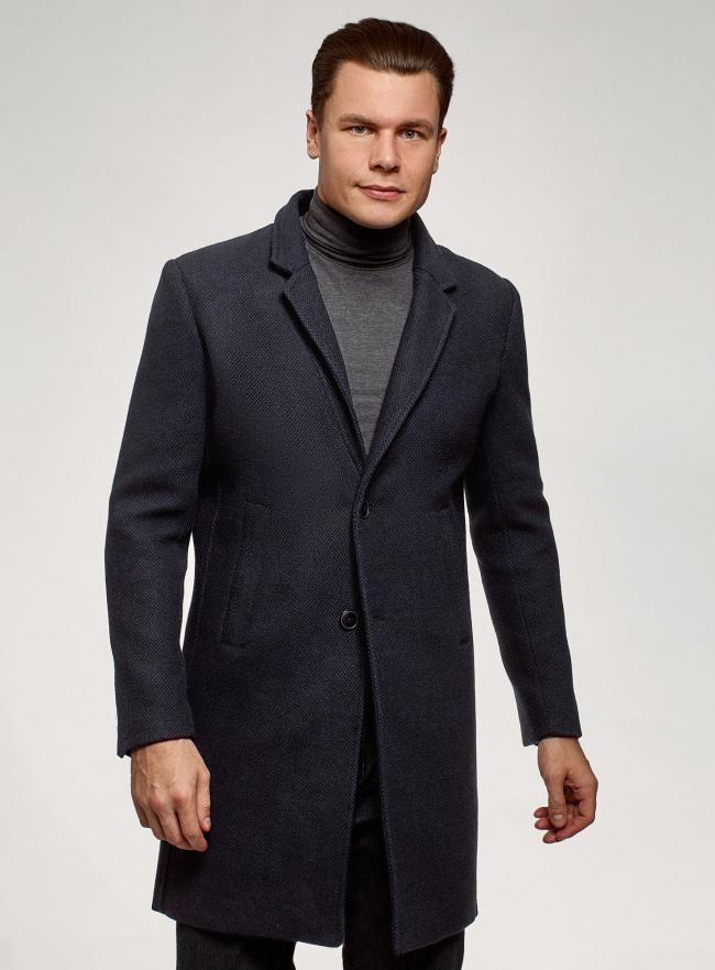 Пальто однобортное oodji для мужчины (синий), 1L314012M/50219N/7975M