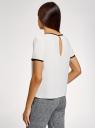 Блузка с коротким рукавом и контрастной отделкой oodji для женщины (белый), 11401254/42405/1229B