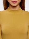 Водолазка хлопковая с рукавом 3/4 oodji #SECTION_NAME# (желтый), 15E11007B/46147/5700N - вид 4