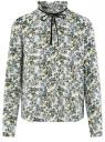 Блузка с декоративными завязками и оборками на воротнике oodji #SECTION_NAME# (слоновая кость), 11411091-2/36215/1219F
